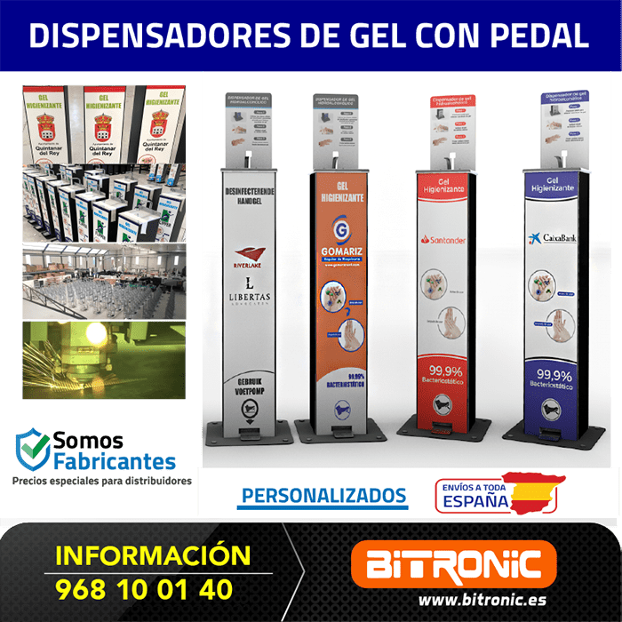 Dispensadores de gel para manos